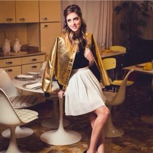 Chiara Ferragni in Abpositive's Gold Bomber